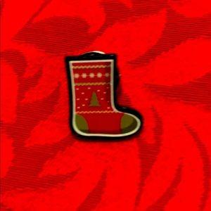 Holiday sock shape pin
